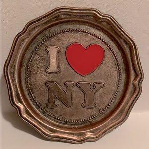 Vintage,I ♥️NY metallic trinket /decorative dish